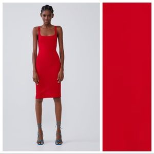 NWT. Zara Red Midi Pencil Plain Dresses. Size S.